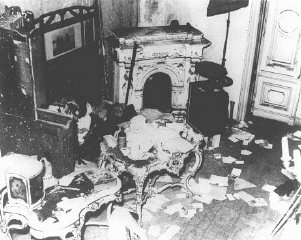 "A private Jewish home vandalized during Kristallnacht (the ""Night of Broken Glass"" pogrom). Vienna, Austria, November 10, 1938."