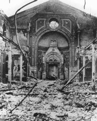Ruins of a synagogue destroyed during anti-Jewish rioting.