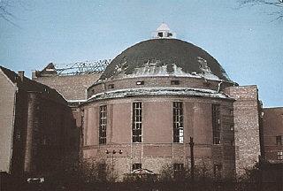 The Prinzregenten Street synagogue, destroyed by fire...