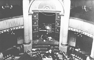 "The holy ark in the sanctuary of the Seitenstetten Street synagogue, demolished during Kristallnacht (the ""Night of Broken Glass""). Vienna, Austria, after November 9, 1938."