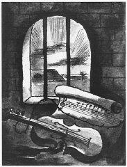 1943 still life of a violin and sheet of music behind...