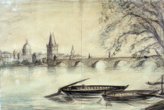 1943 painting of the Vltava River in Prague created...