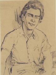 1943 portrait of Edgar Krasa drawn by Leo Haas in T...