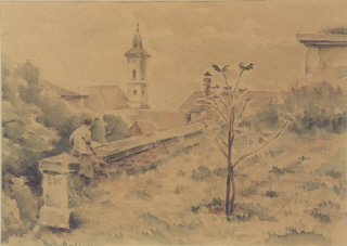 1943 watercolor landscape of Theresienstadt painted...