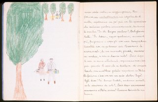 Illustrated page of a child's diary written in a Swiss...