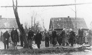 Polish citizens hanged by the Nazis in Sosnowiec.