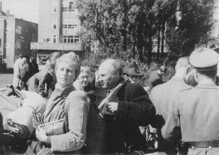 Jews from Amsterdam shortly before their deportation to the Westerbork transit camp. The Netherlands, between May and September, 1943.