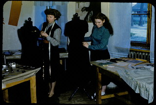 Jewish displaced persons learn dressmaking in the Foehrenwald Organization for Rehabilitation through Training (ORT) vocational school. Foehrenwald was the final displaced persons camp to close, functioning until 1957 as a home for Jews who had no place to go. Foehrenwald, Germany, 1953.