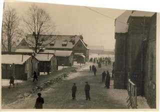 View of a street of the Babenhausen displaced persons...
