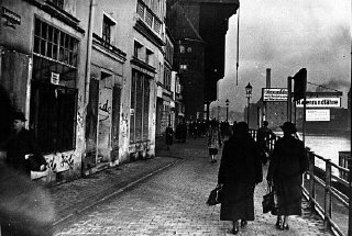 Antisemitic graffiti on Jewish-owned businesses on a Danzig street in 1935. The local Nazi party had dominated the Danzig Senate since 1933. Danzig, 1935.
