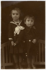 Prewar studio portrait in Sighet of Jewish siblings...