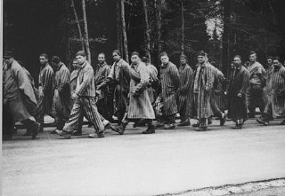 Prisoners head south on a death march from the Dachau concentration camp.