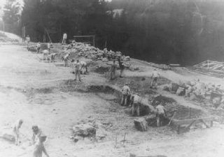 Prisoners at forced labor on a construction project in the Flossenbürg concentration camp.