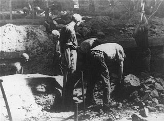 Prisoners at forced labor break stone with pickaxes...