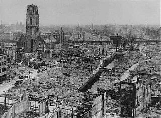 View of Rotterdam after German bombing during the Western...