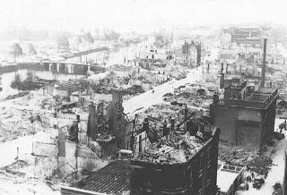 View of Rotterdam after German bombing in May 1940....