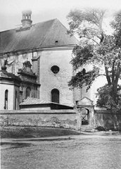 Postwar photo of a church in the village of Chelmno...