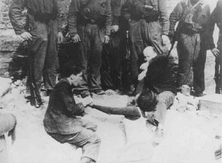 German soldiers discover a Jewish resistance fighter...