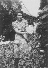 Hannah Szenes, in the garden of her Budapest home before...