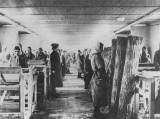 Romani (Gypsy) inmates at forced labor in Ravensbrueck...