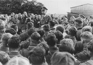 SS chief Heinrich Himmler addresses a group of soldiers...