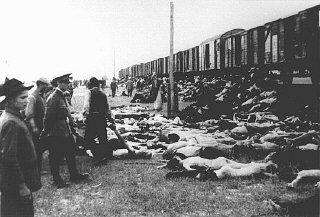 During the deportation of survivors of a pogrom in Iasi to Calarasi or Podul Iloaei, Romanians halt a train to throw off the bod