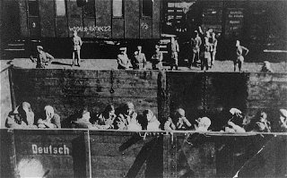 Deportation of Jewish women from the Warsaw ghetto....