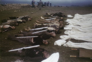 The bodies of former prisoners are laid out in rows...