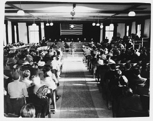 View of the courtroom during the Dachau concentration camp trial.