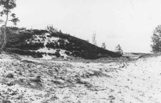 Site where members of Einsatzgruppe A (mobile killing unit A) and Estonian collaborators carried out a mass execution of Jews in September 1941. Kalevi-Liiva, Estonia, after September 1944.