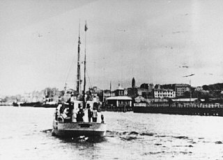 Jewish refugees being rescued aboard a Danish fishing...