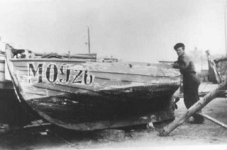 Danish fishermen used this boat to carry Jews to safety in Sweden during the German occupation. Denmark, 1943 or 1944.