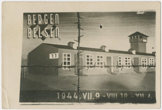 Commemorative postcard with a drawing of barrack 11...