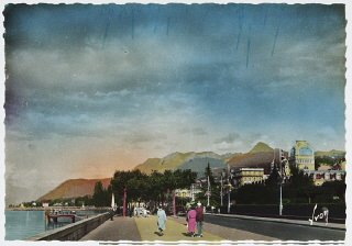 Postcard showing Evian-les-Bains at the time of the...