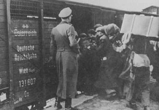 Jews are forced into boxcars destined for the Belzec...