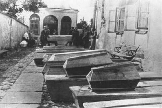 Coffins containing bodies of Jews killed in the Kielce...