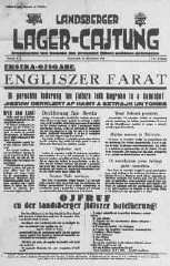 Front page of a newspaper from Landsberg displaced...