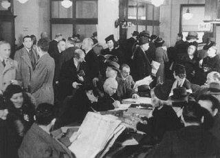 German Jews crowd the Palestine Emigration Office in an attempt to leave Germany. Berlin, Germany, 1935.