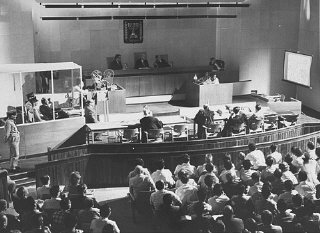 Film evidence is shown during the trial of Adolf Ei...