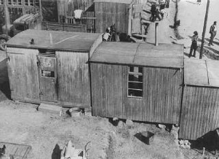 Forced-labor camp for Roma (Gypsies). Lety, Czechoslovakia, wartime.