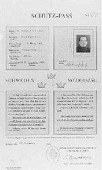 Swedish protective pass issued to Joseph Katona, the...