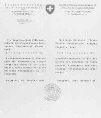 Salvoconducto emitido por el consulado suizo en Budapest...
