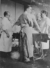 Nazi physician Carl Clauberg (at left), who performed medical experiments on prisoners in Block 10 of the Auschwitz camp.