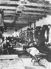 Jewish inmates in their barracks at the Italian concentration...