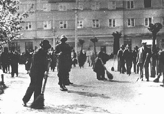 Hungarian gendarmes oversee a group of Jewish forced...
