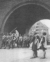 Members of the SA enter Danzig in 1939.