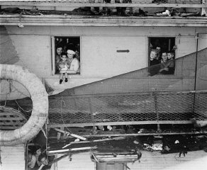 "Passengers on board the ""Exodus 1947"" refugee..."