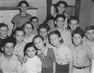 Jewish orphans in a displaced persons center in the...