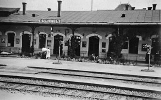 View of the train station in Oswiecim, Poland, before...
