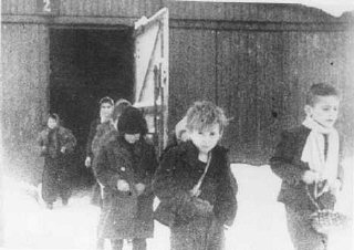 Soon after liberation, surviving children of the Auschwitz...